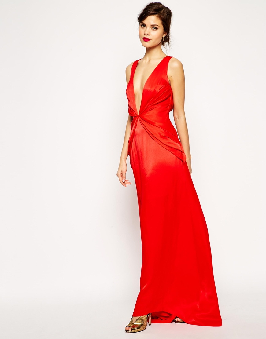133033e85c Lyst - ASOS Red Carpet Premium Super Plunge Twist Front Maxi Dress ...