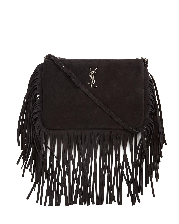 fa7107070389 Lyst - Saint Laurent Monogram Suede Fringe-edge Crossbody Bag in Black