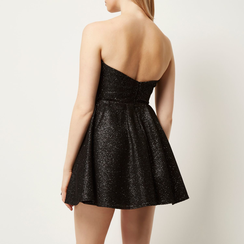 c65c3ebad74c River Island Black Sparkly Bandeau Prom Dress in Black - Lyst