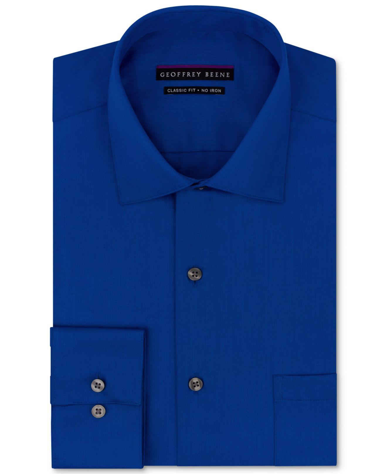 Lyst geoffrey beene non iron sateen solid dress shirt in blue gallery biocorpaavc