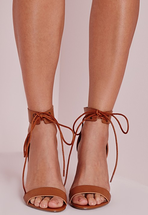416211315e2 Lyst - Missguided Block Heeled Barely There Sandals Tan in Brown