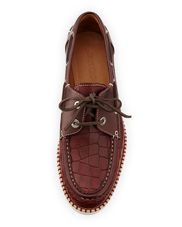 Jimmy Choo Danby Crocembossed Boat Shoe In Red For Men