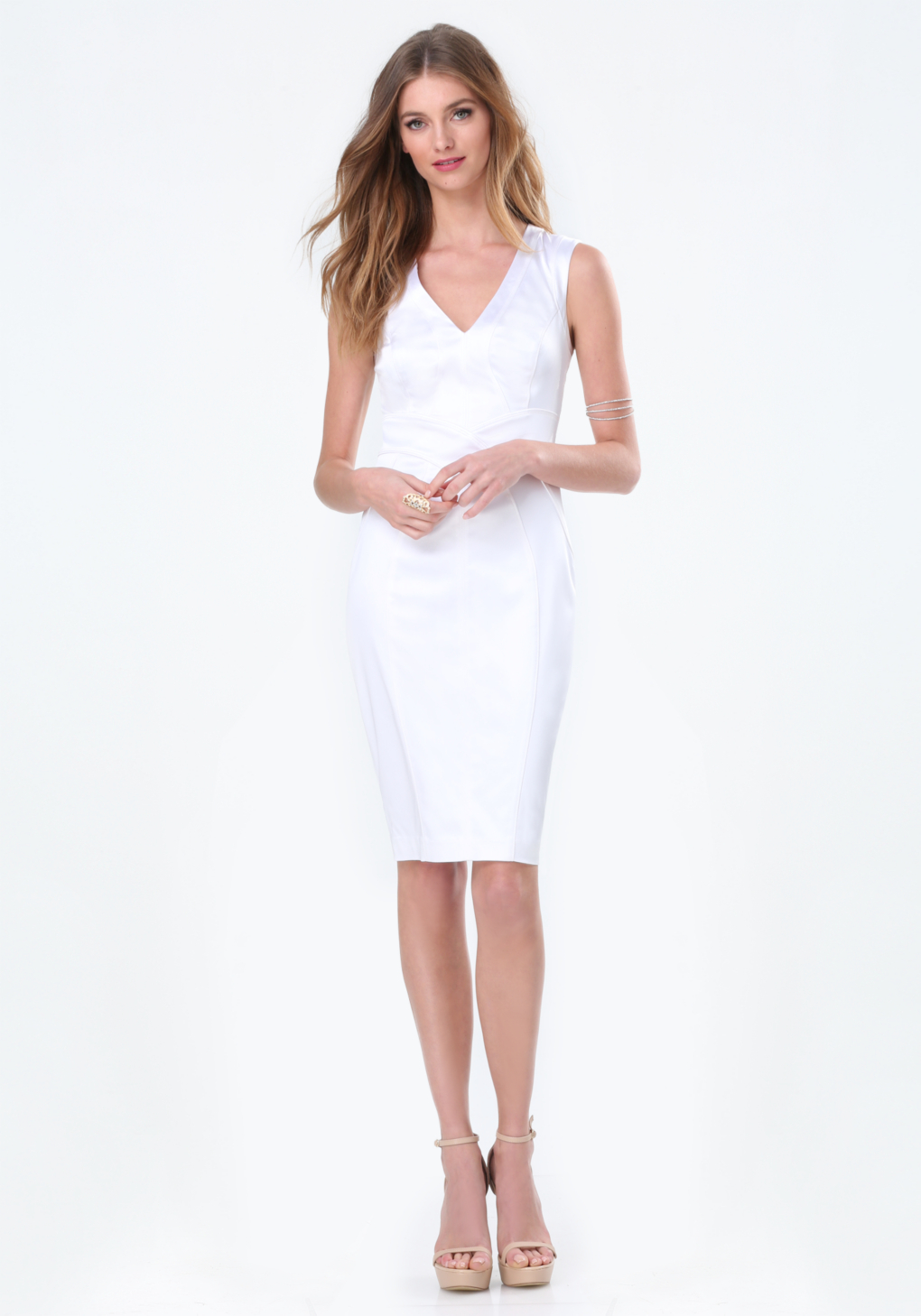 Bebe tiana paneled dress in white lyst gallery womens white cocktail dresses ombrellifo Images