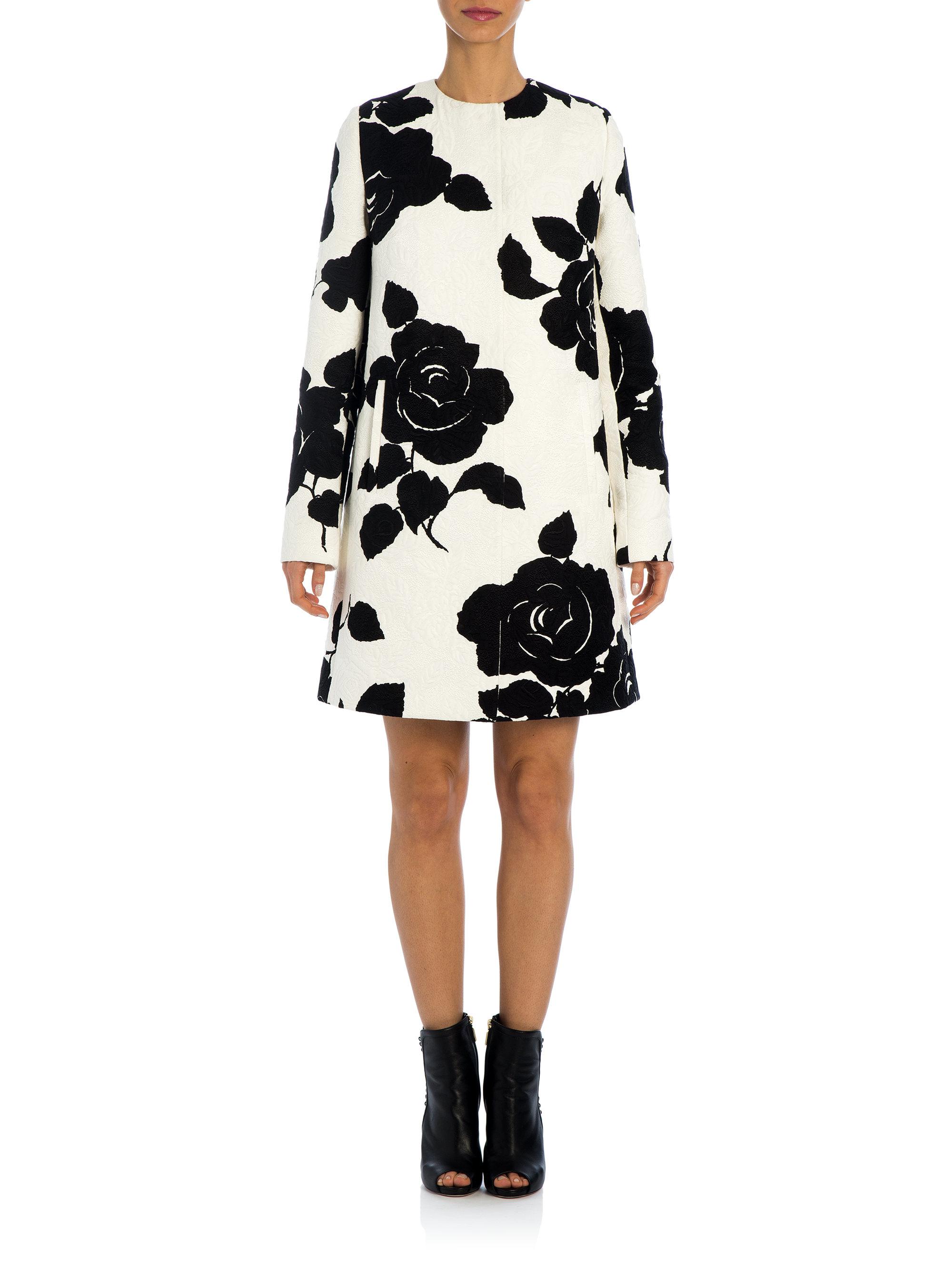 dolce gabbana rose jacquard coat in black white black lyst. Black Bedroom Furniture Sets. Home Design Ideas