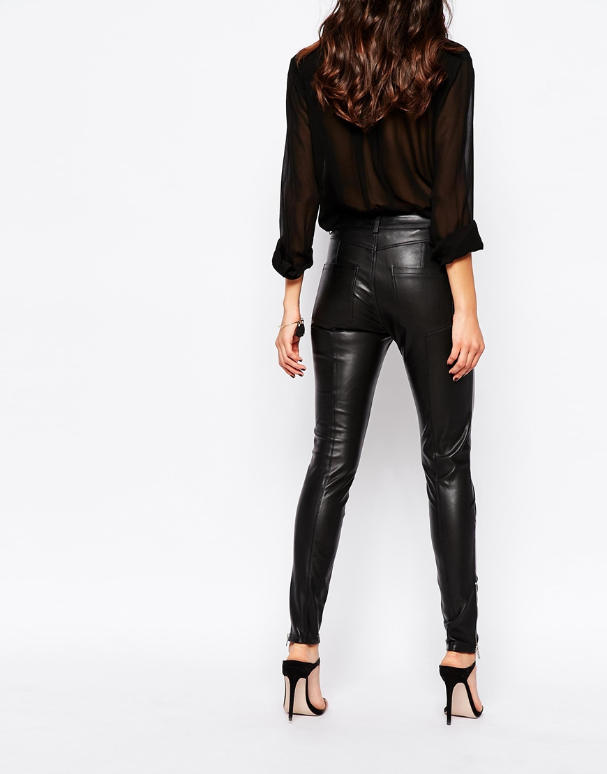 Lyst Mango Leather Look Pants In Black