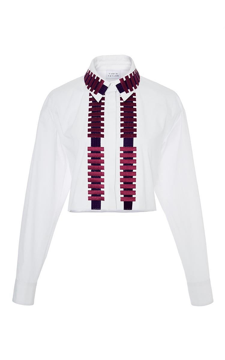 Tanya taylor penny cotton embroidered button up shirt in for Cotton button up shirt