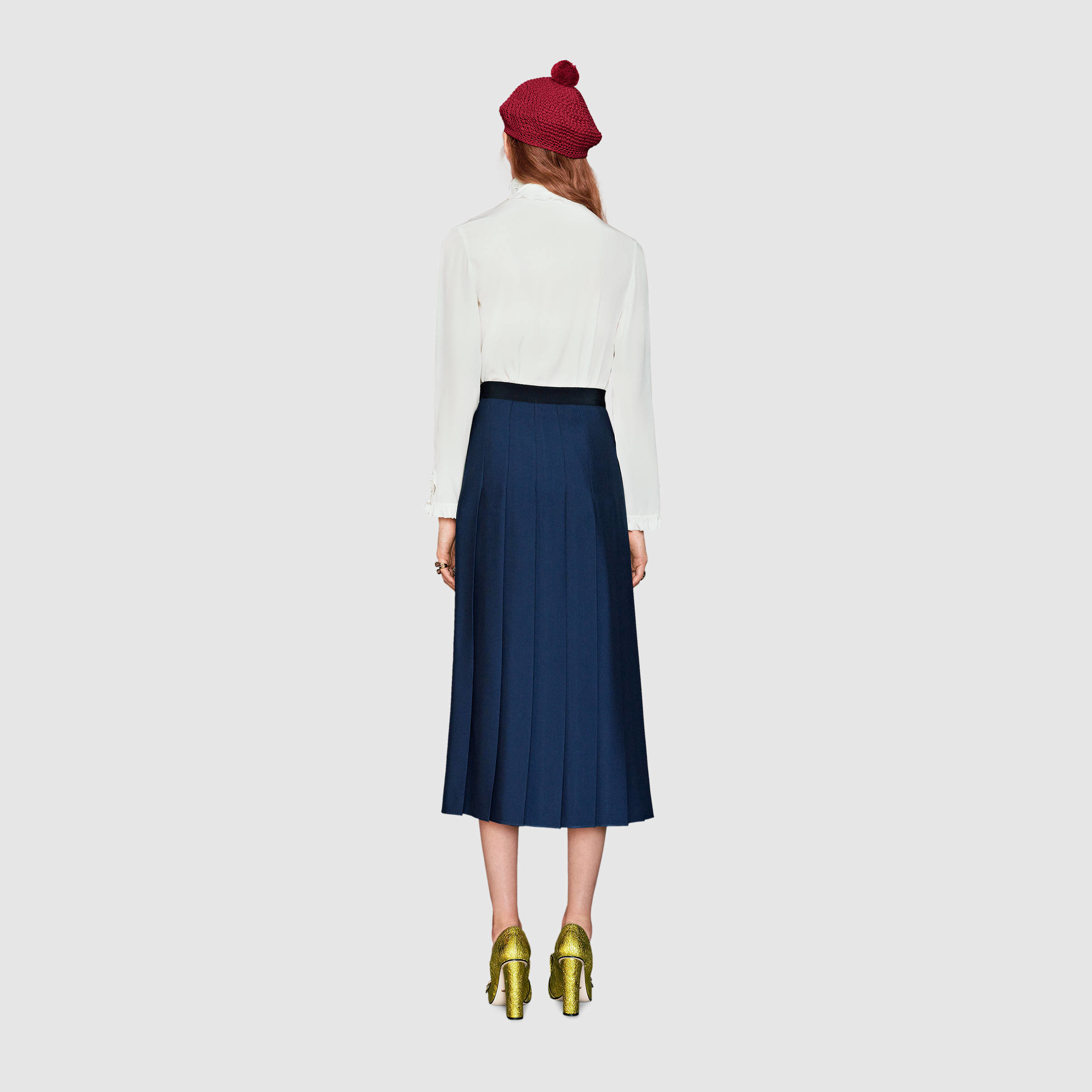 Gucci Wool-silk Pleated Skirt in Blue | Lyst