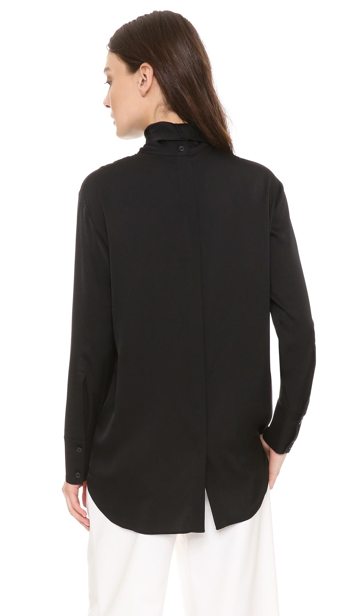 Dkny Long Sleeve Mock Neck Shirt In Black Lyst