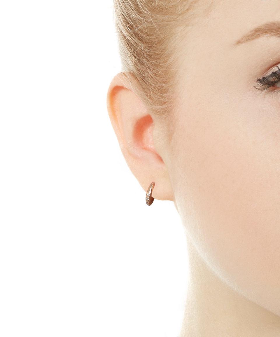 Lyst - Dinny Hall Mini Rose Gold Diamond Bijou Hoop Earrings in ...