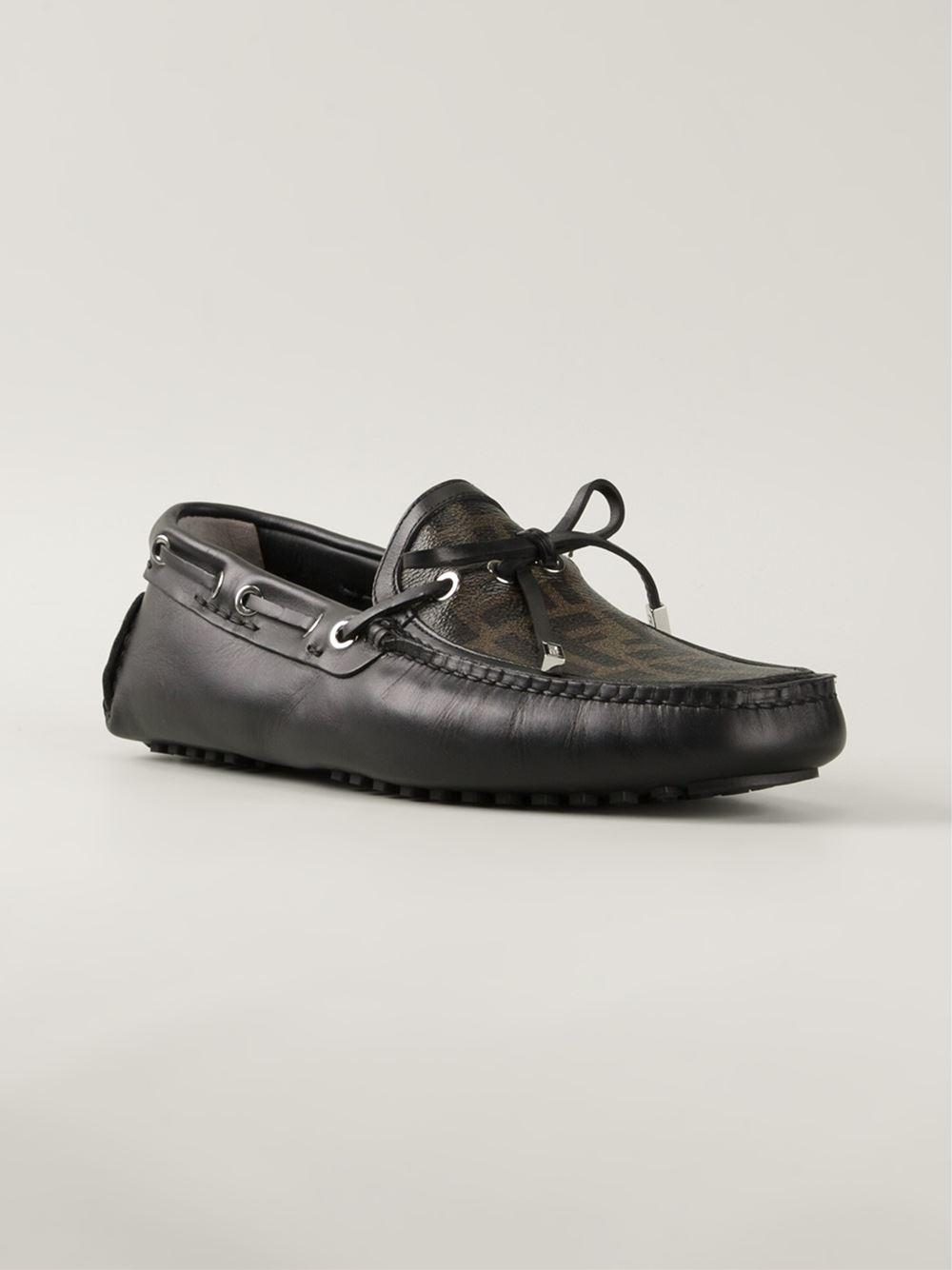 a59652c1d8 Lyst - Fendi Ff Logo Driving Shoes in Black for Men