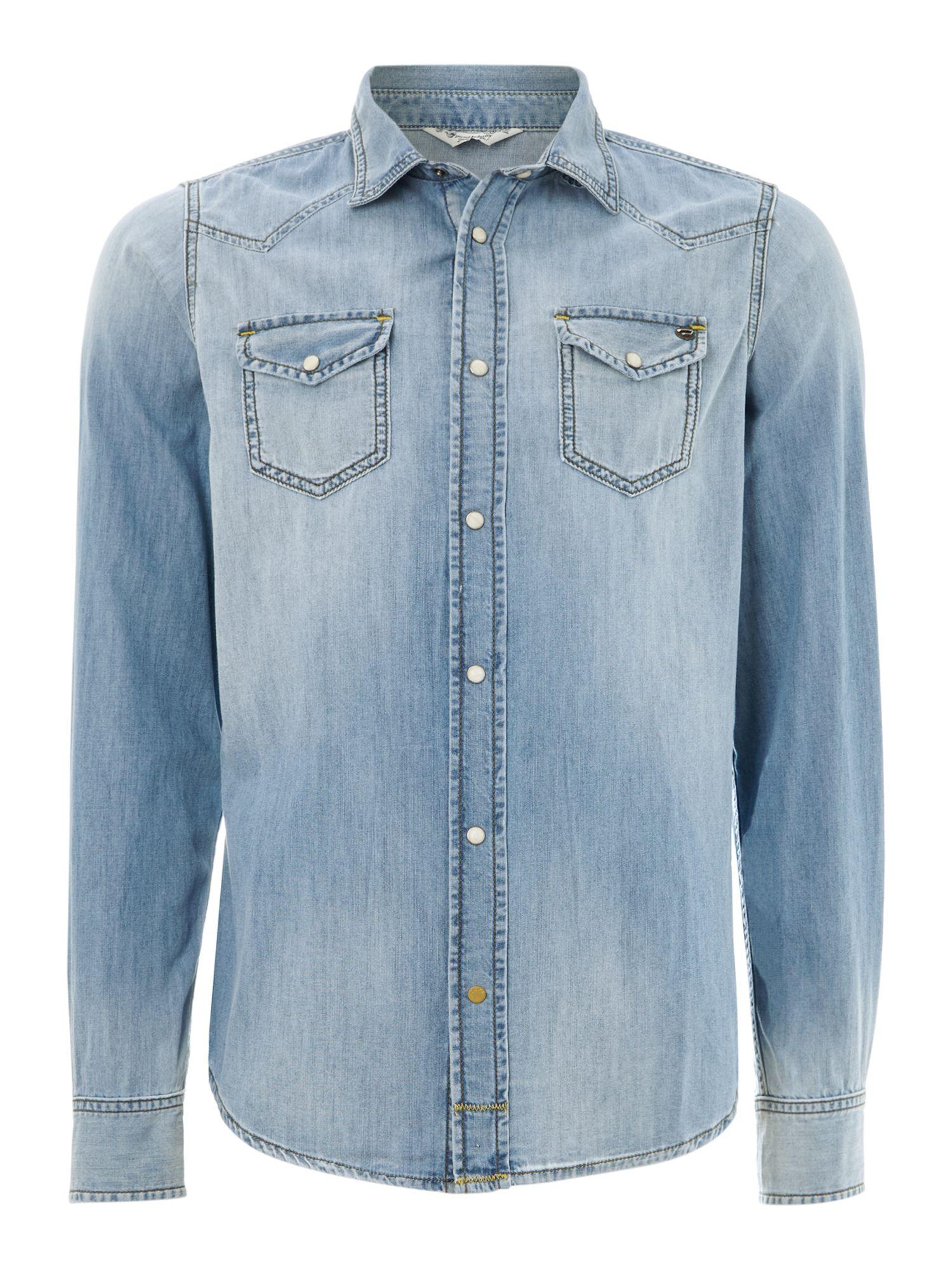 Diesel Long Sleeve Light Wash Denim Shirt In Blue For Men