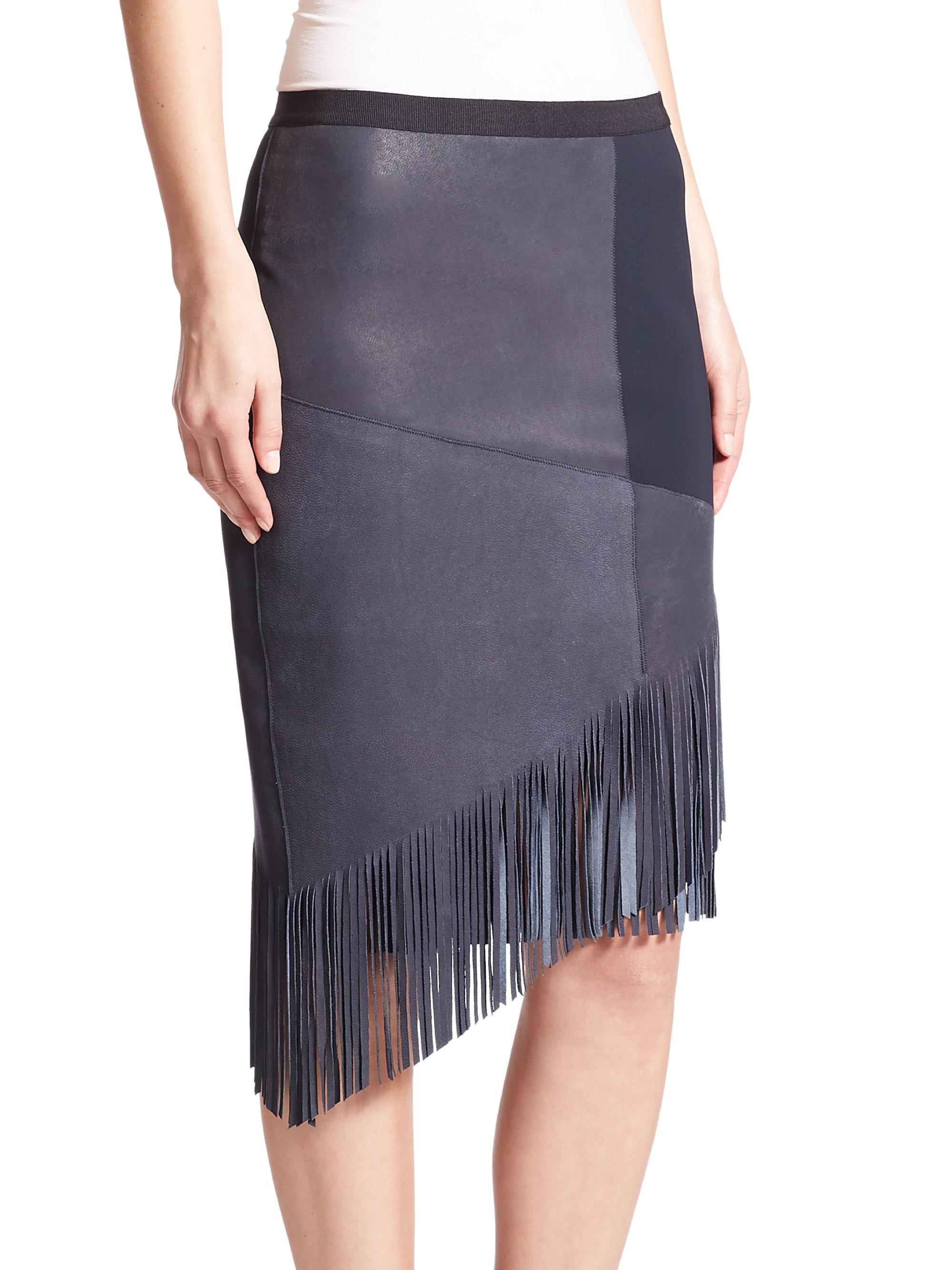 elie tahari claudette suede fringe skirt in blue lyst