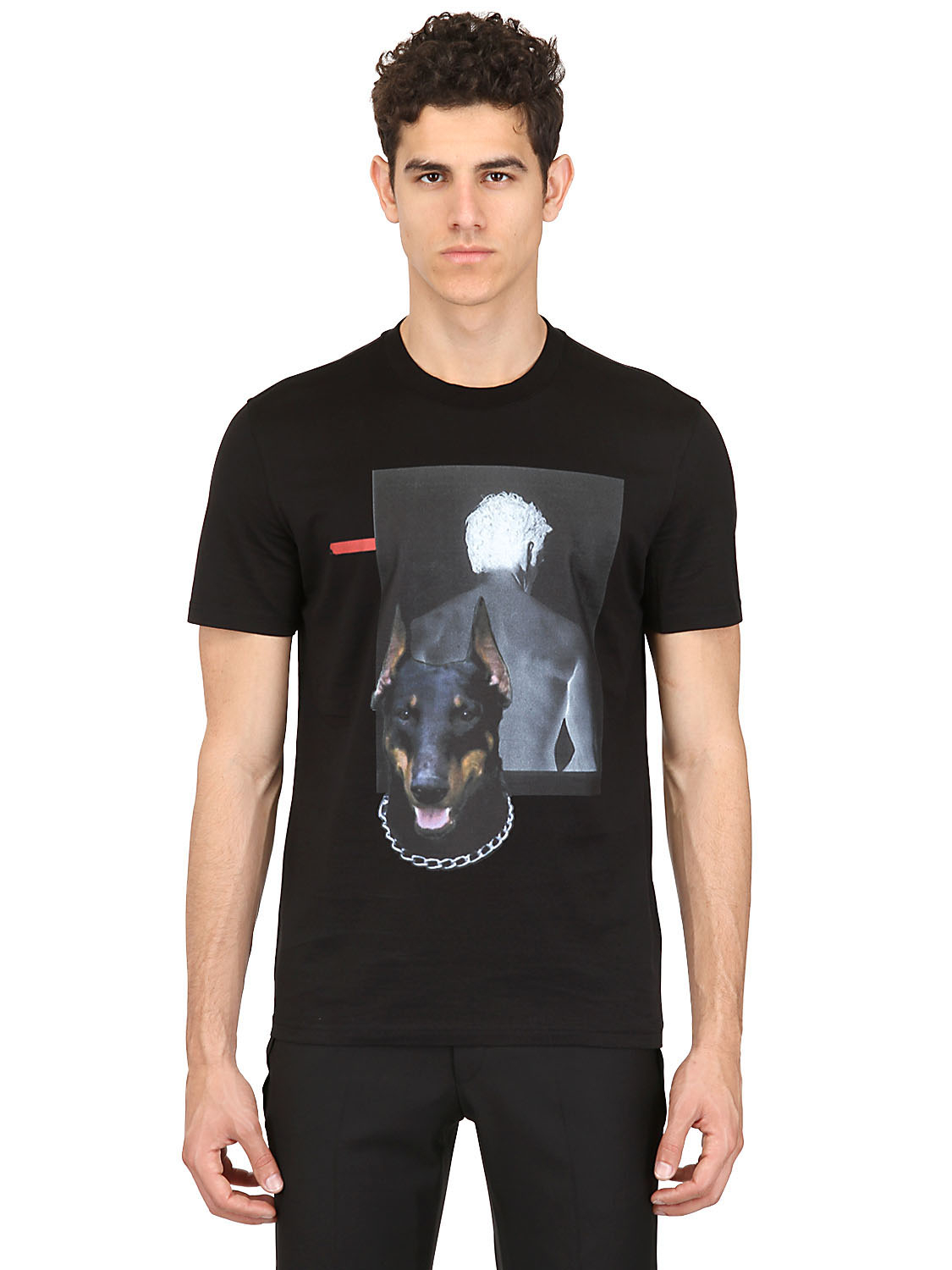 Givenchy doberman cuban fit cotton jersey t shirt in black for Givenchy t shirt man