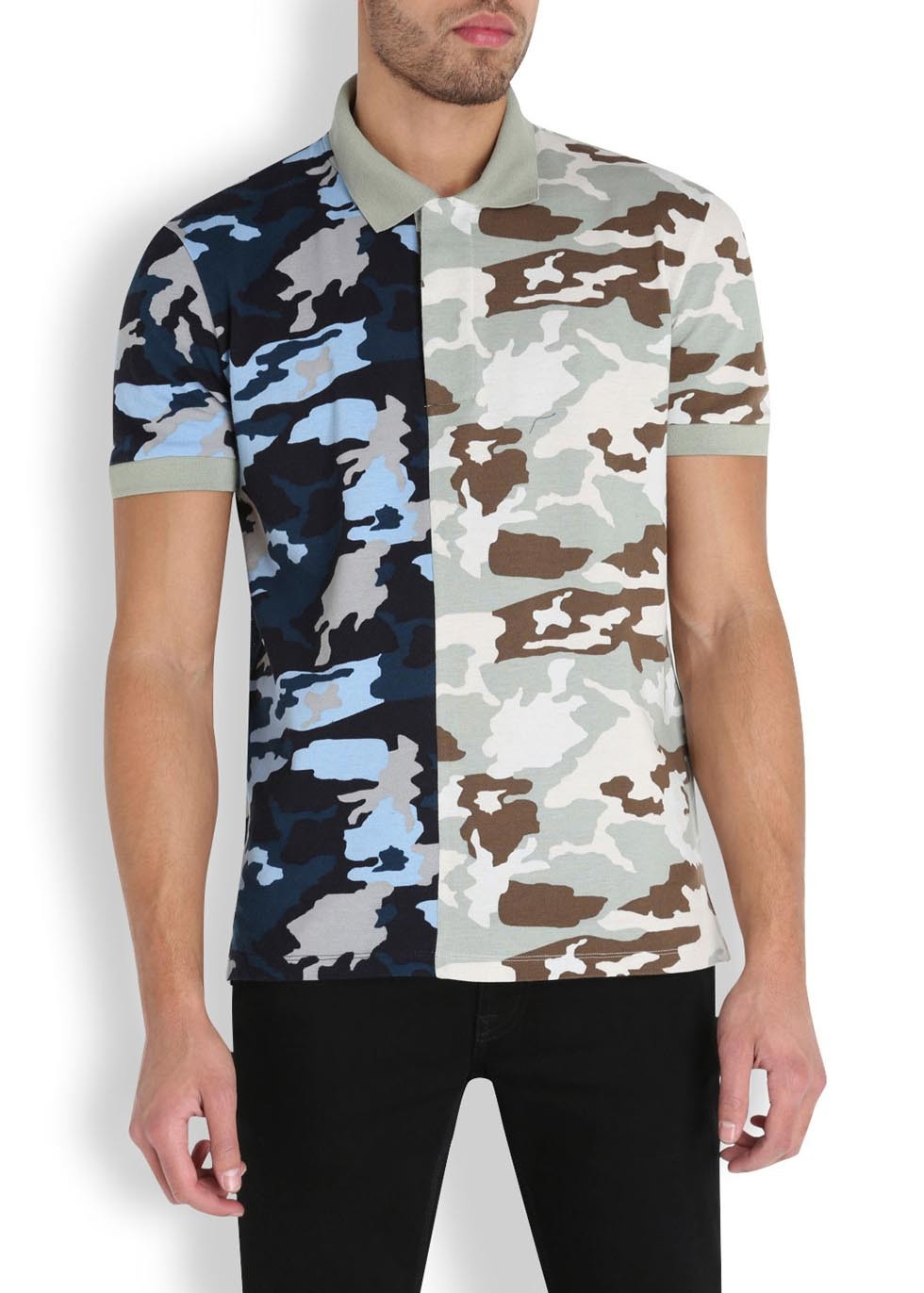 842687d83 Givenchy Camouflage Piqué Cotton Polo Shirt in Blue for Men - Lyst