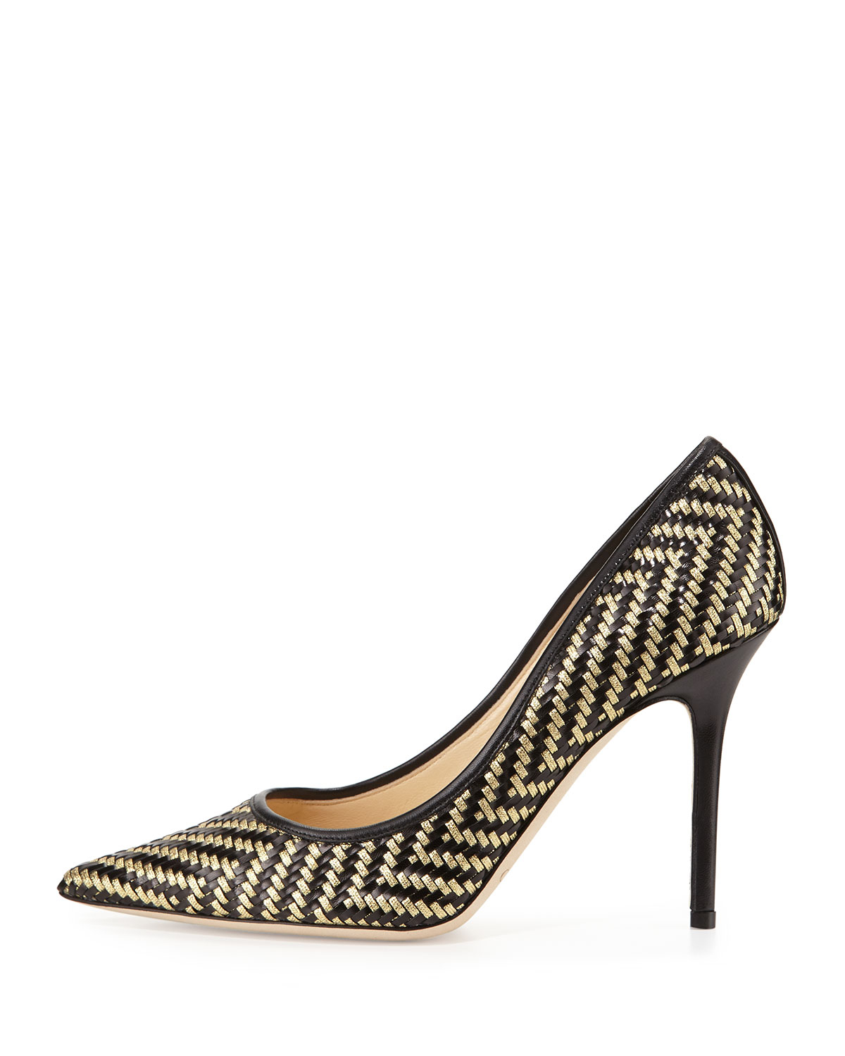 Jimmy Choo Woven Embellished Pumps