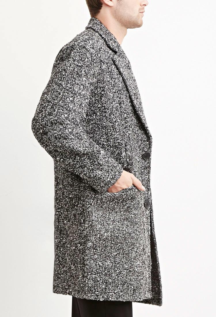 Forever 21 Herringbone-patterned Coat in Black for Men   Lyst