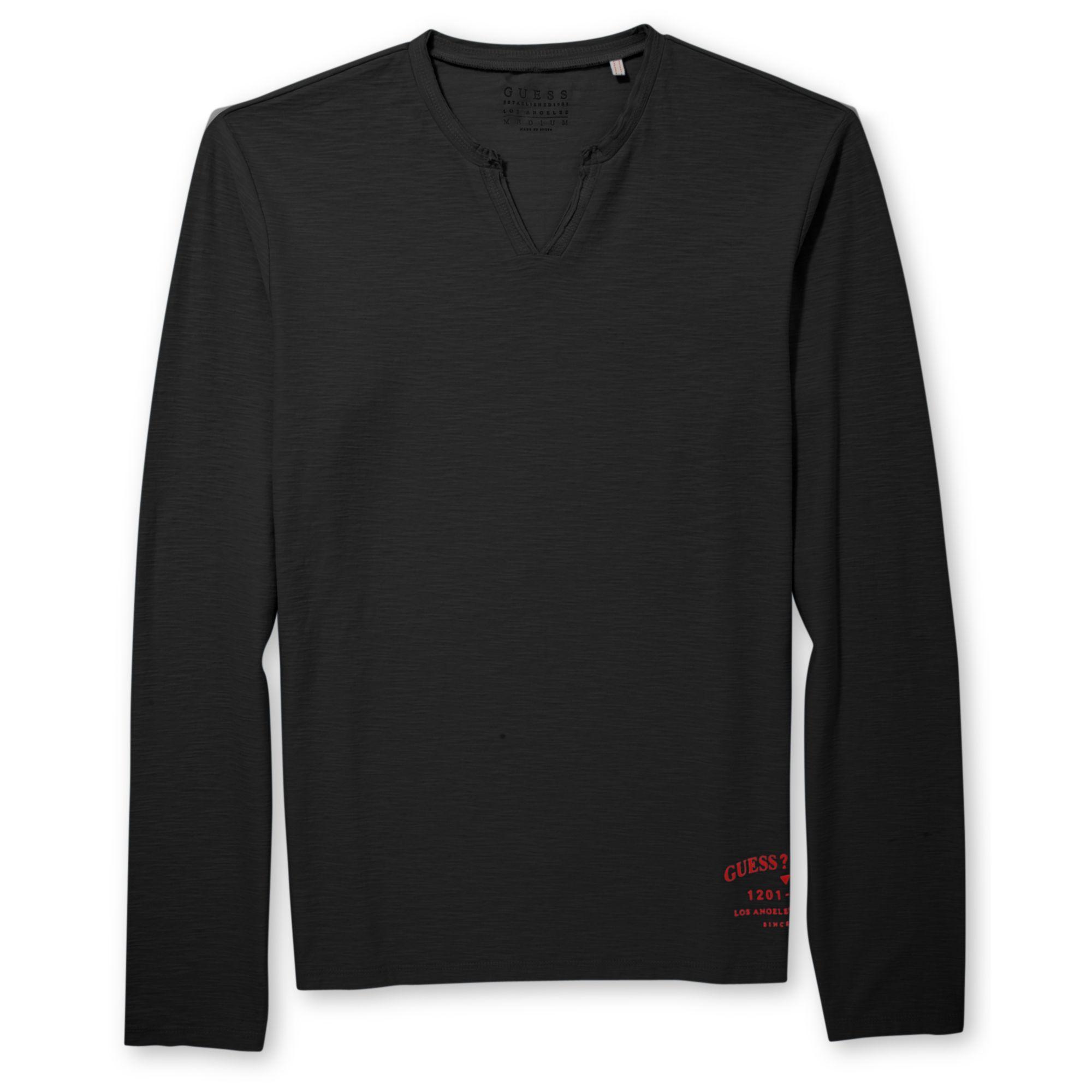 Guess Notchedneck Longsleeve Tshirt In Black For Men Jet