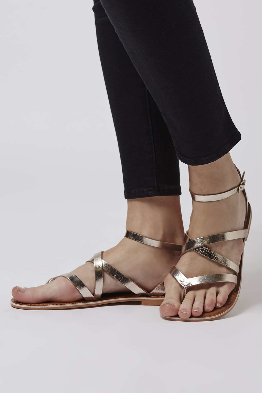 531e554a6b1c Lyst - TOPSHOP Hercules Strappy Sandals in Metallic