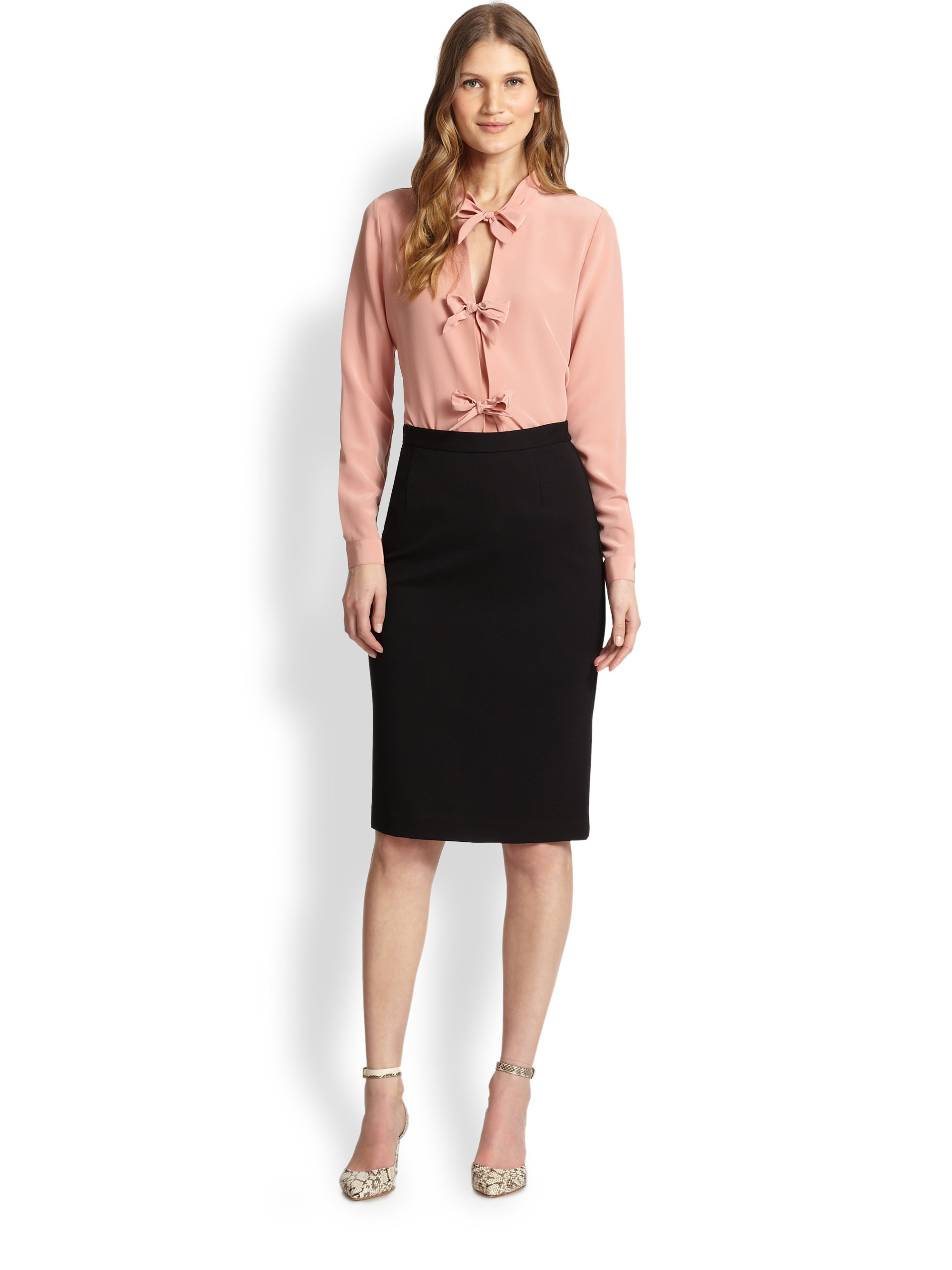 Raoul Silk Bow Tie Blouse in Pink
