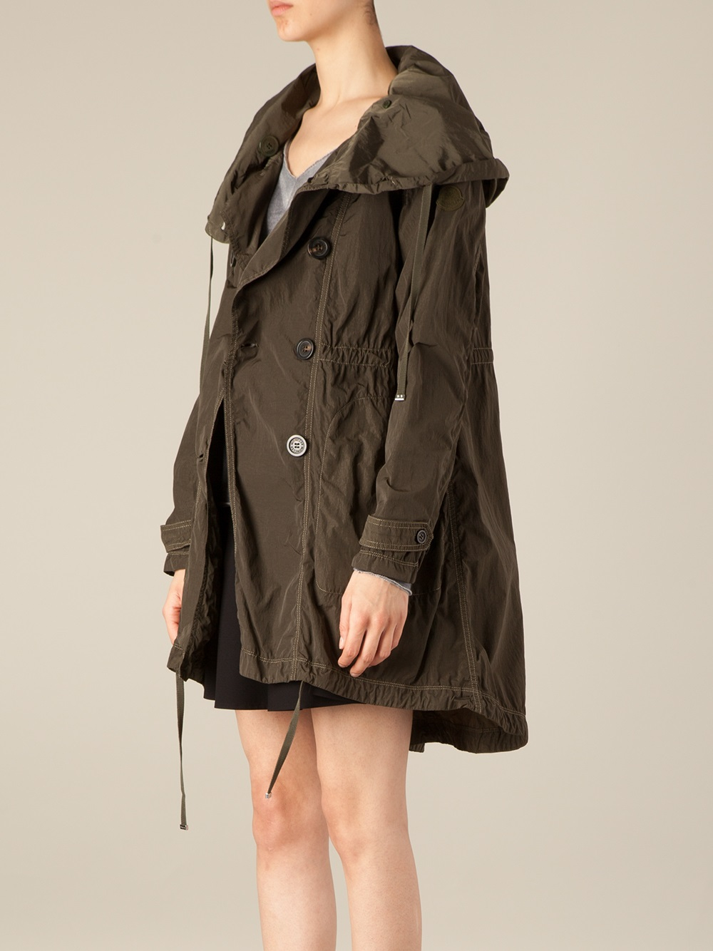 Lyst Moncler Hooded Parka In Green