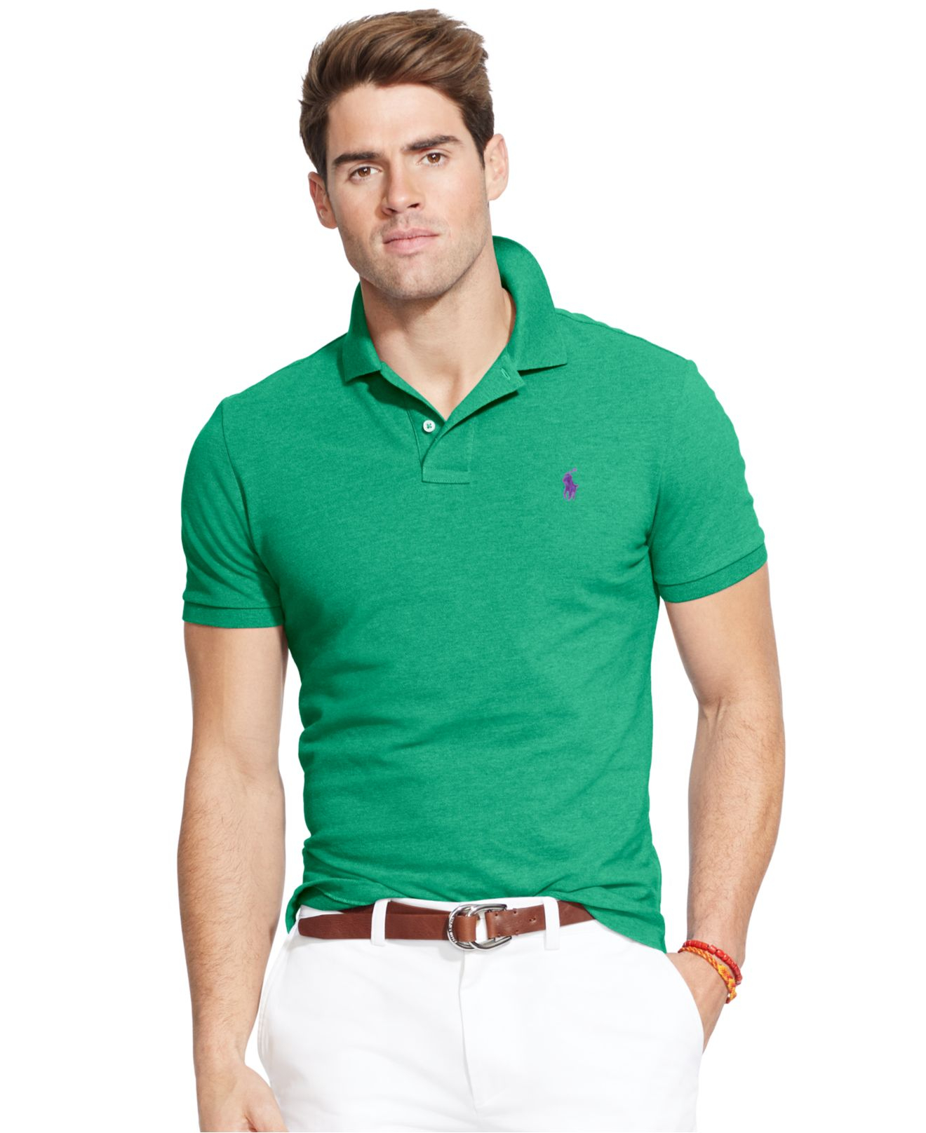 3249c134f2224 Lyst - Polo Ralph Lauren Custom-fit Mesh Polo Shirt in Green for Men