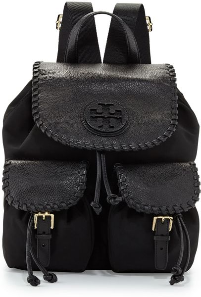 Tory Burch Marion Nylon Flap Backpack In Black Lyst