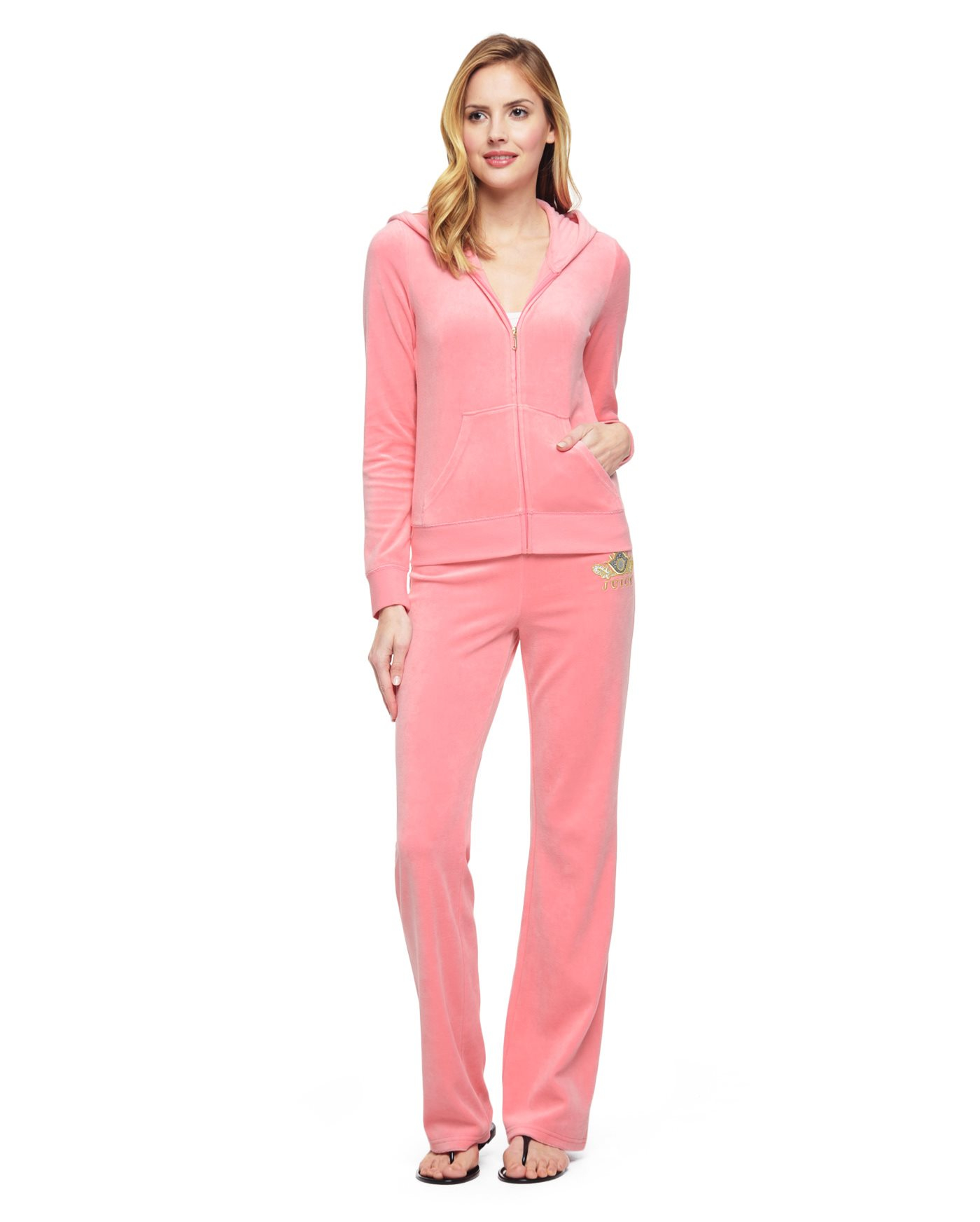 Juicy couture logo velour riviera floral bootcut pant in for Couture garments