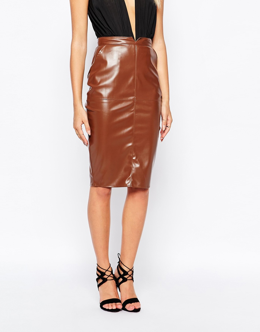 Missguided Faux Leather Pencil Skirt in Brown | Lyst
