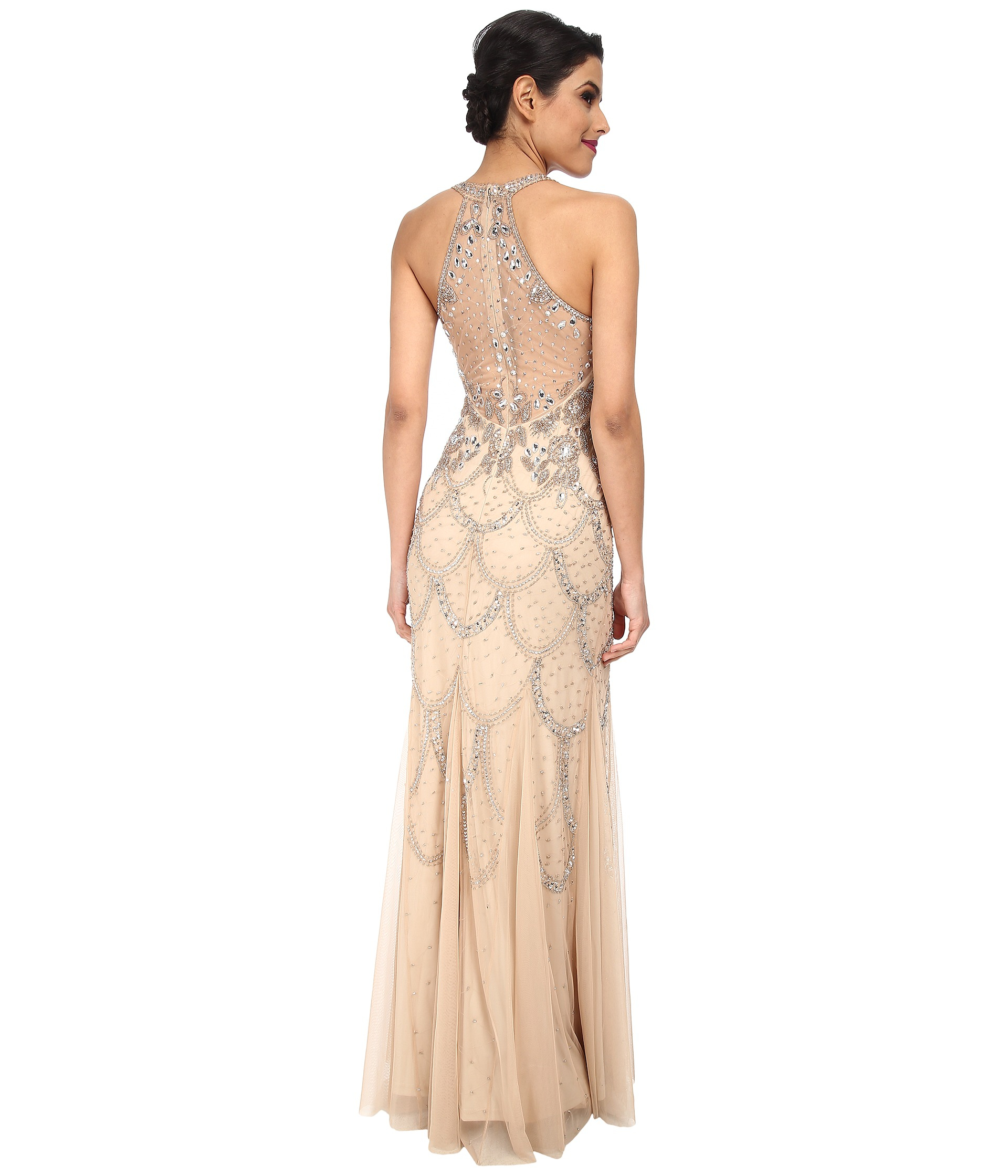 Adrianna papell Halter Fully Beaded Gown in Natural