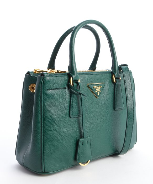Prada Emerald Saffiano Leather Top Handle Bag in Green (emerald . 332751a38177f