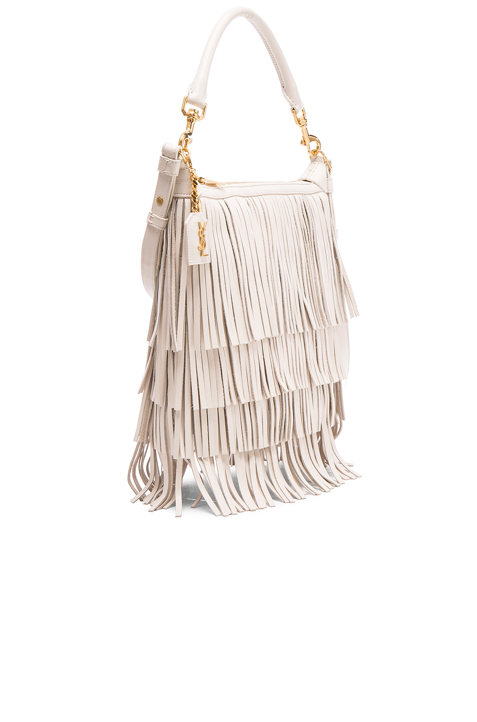 ysl keychain - Saint laurent Emmanuelle Small Fringed Hobo Leather Bag in White ...