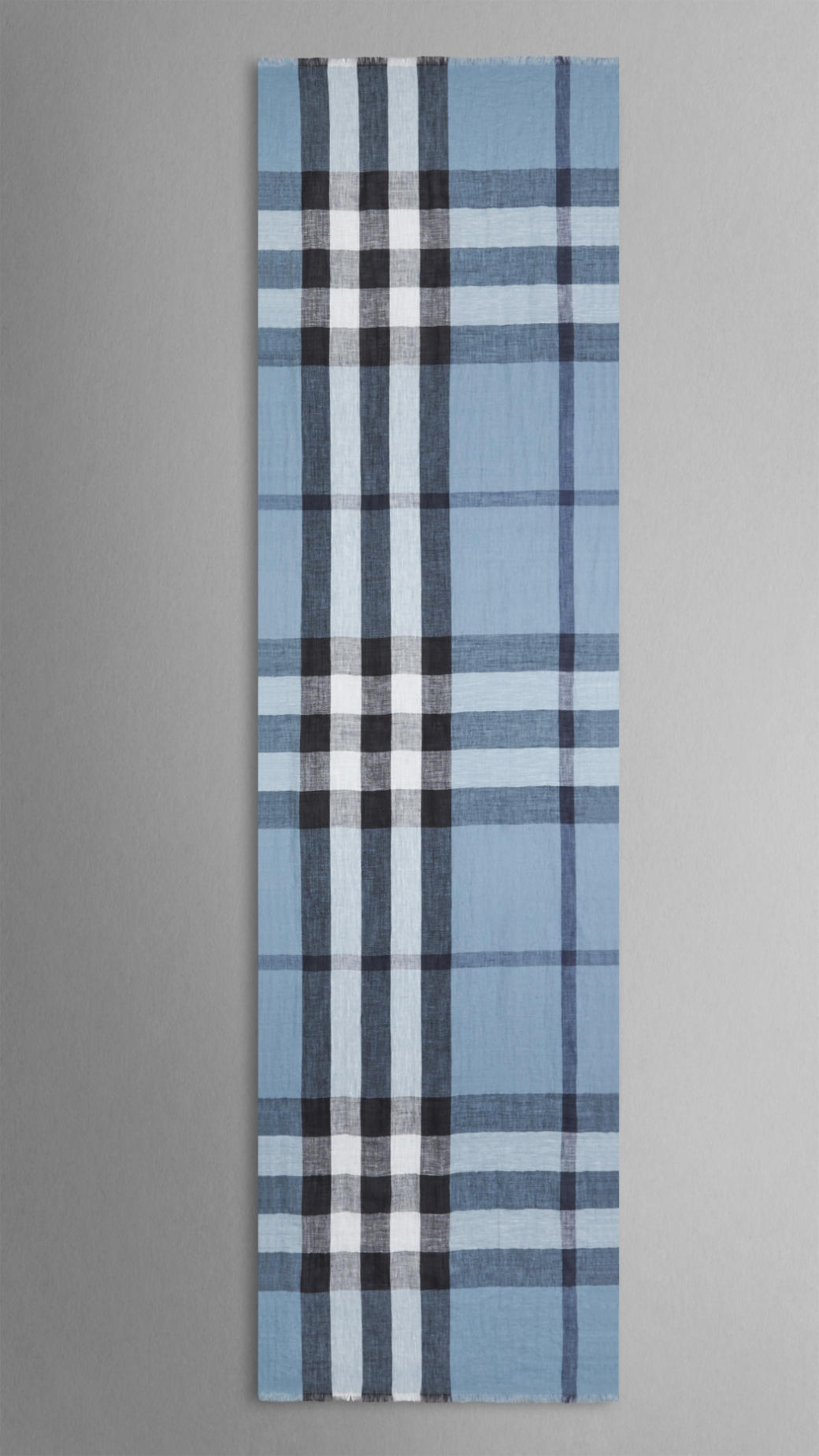 Burberry Exploded Check Linen Scarf In Blue For Men Lyst