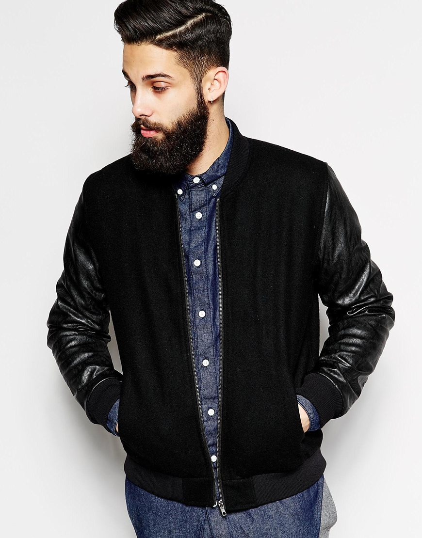 Asos Wool Bomber Jacket With Leather Look Sleeves in Black for Men ...
