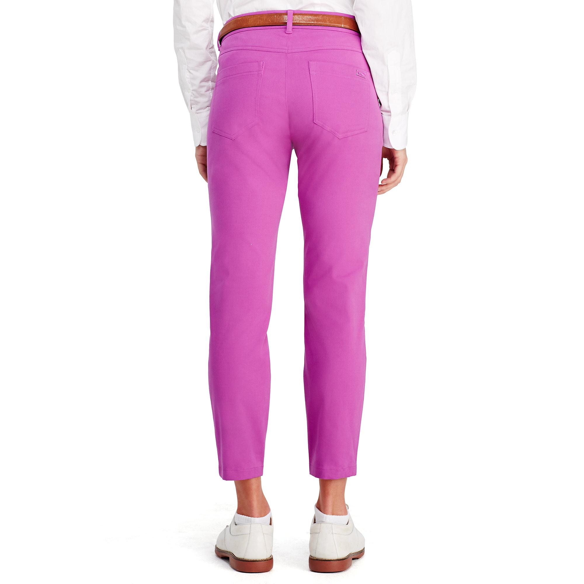 Ralph lauren golf Stretch-sateen Capri Pant in Purple | Lyst
