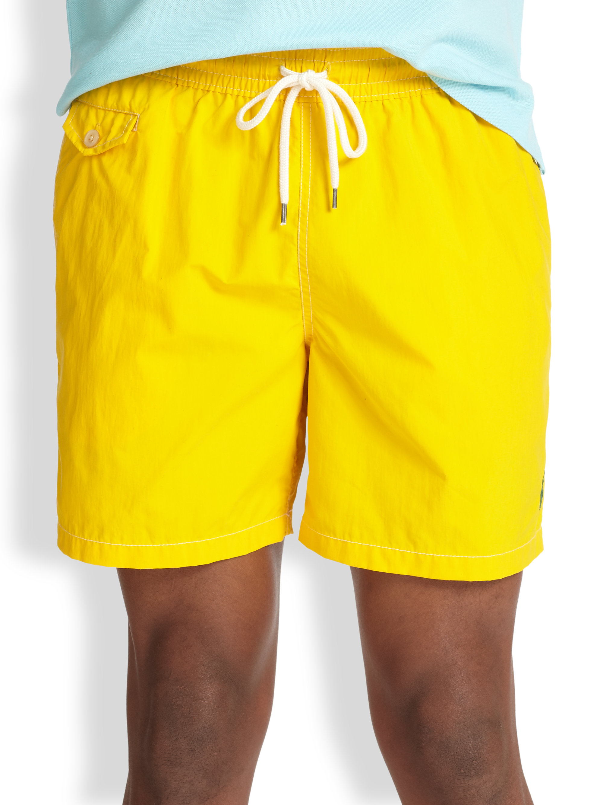 bf9e430425 ... where can i buy reduced lyst polo ralph lauren traveler swim shorts in  yellow for men