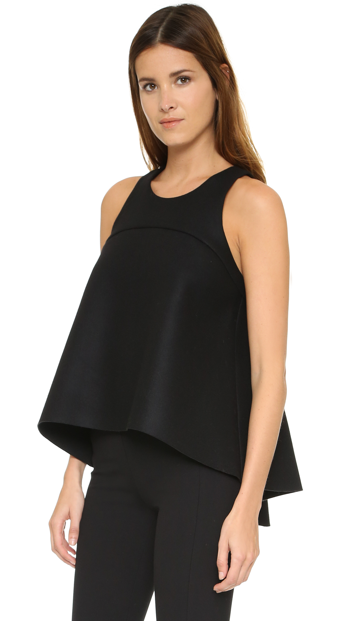 d3ebc5f7fc743 Lyst - MILLY Trapeze Top - Black in Black