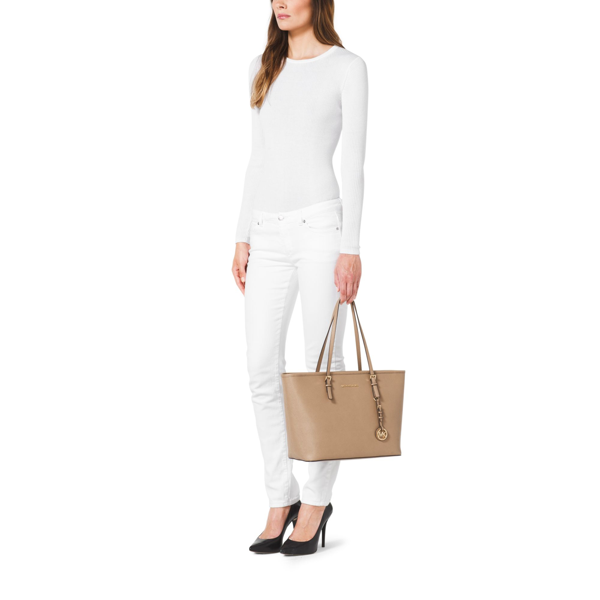 6e81601dcc3f Michael Kors Jet Set Travel Saffiano Leather Top-zip Tote in Natural ...