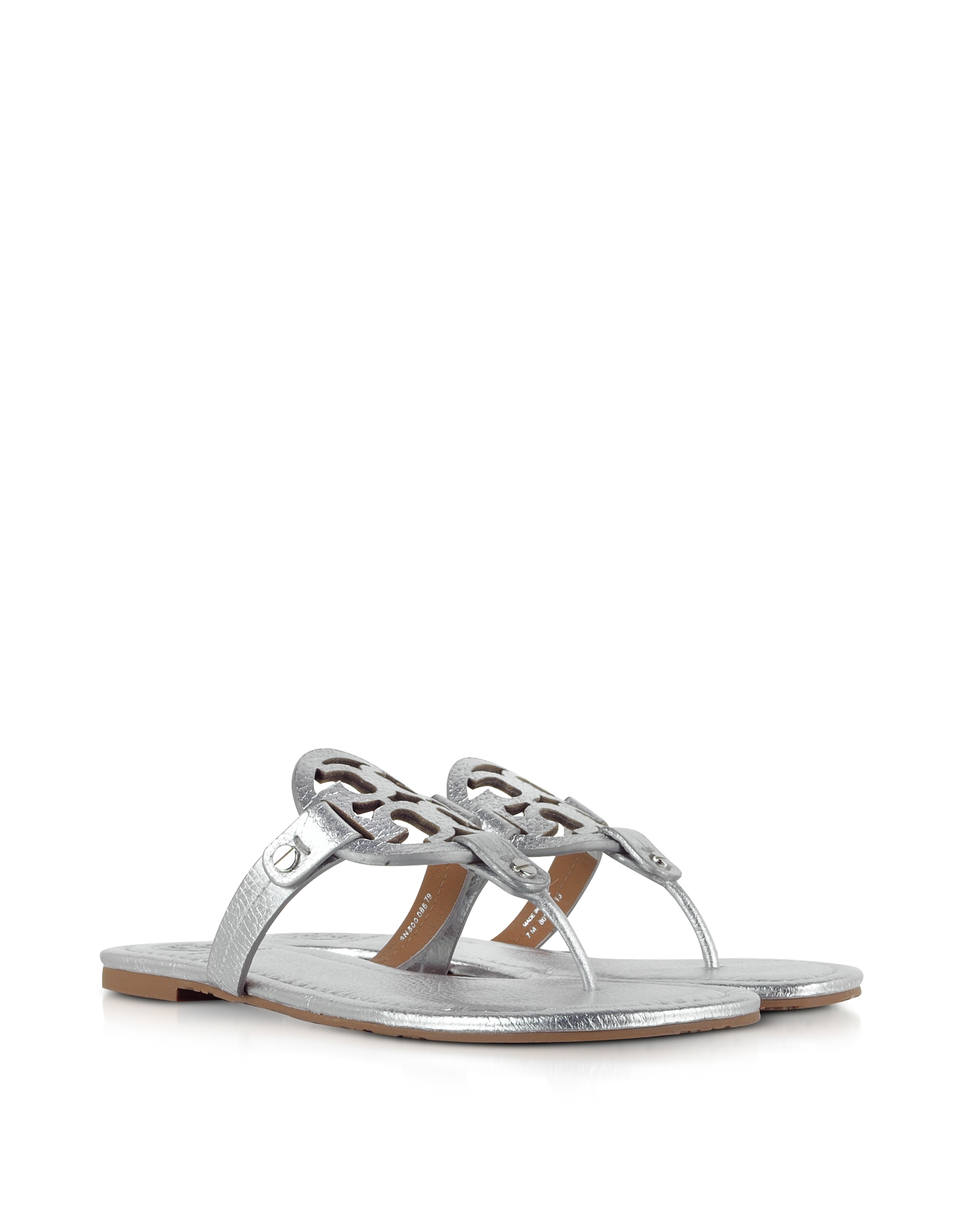59860d0c085d Lyst - Tory Burch Miller Metallic Silver Leather Sandal in Metallic