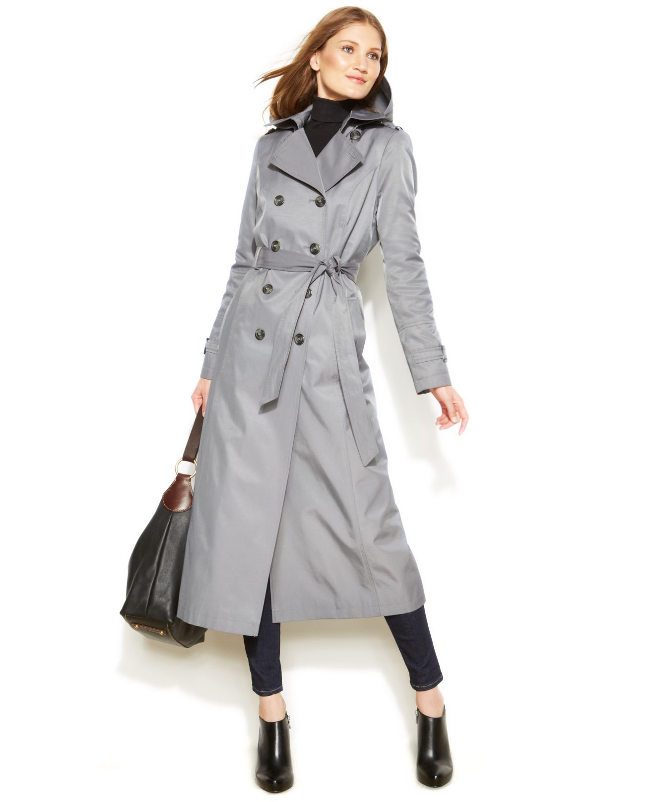 Dkny Petite Hooded Double-Breasted Maxi Trench Coat in Gray   Lyst