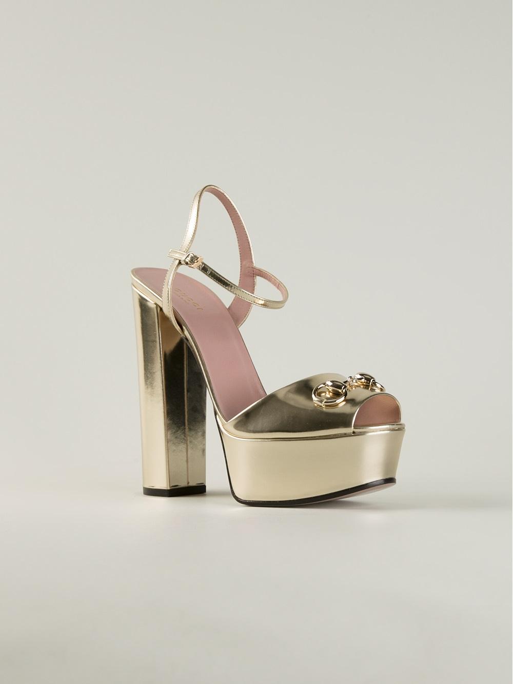 Gucci Chunky Heel Sandals In Gold Metallic Lyst