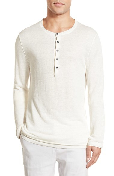 Vince Long Sleeve Double Layer Linen Henley In White For
