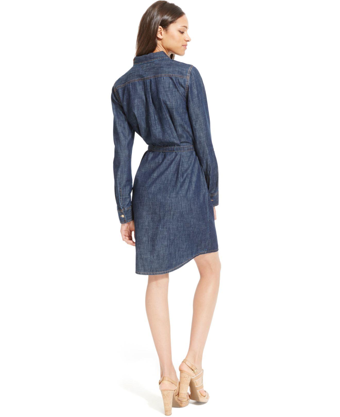 lyst tommy hilfiger belted denim shirt dress in blue. Black Bedroom Furniture Sets. Home Design Ideas