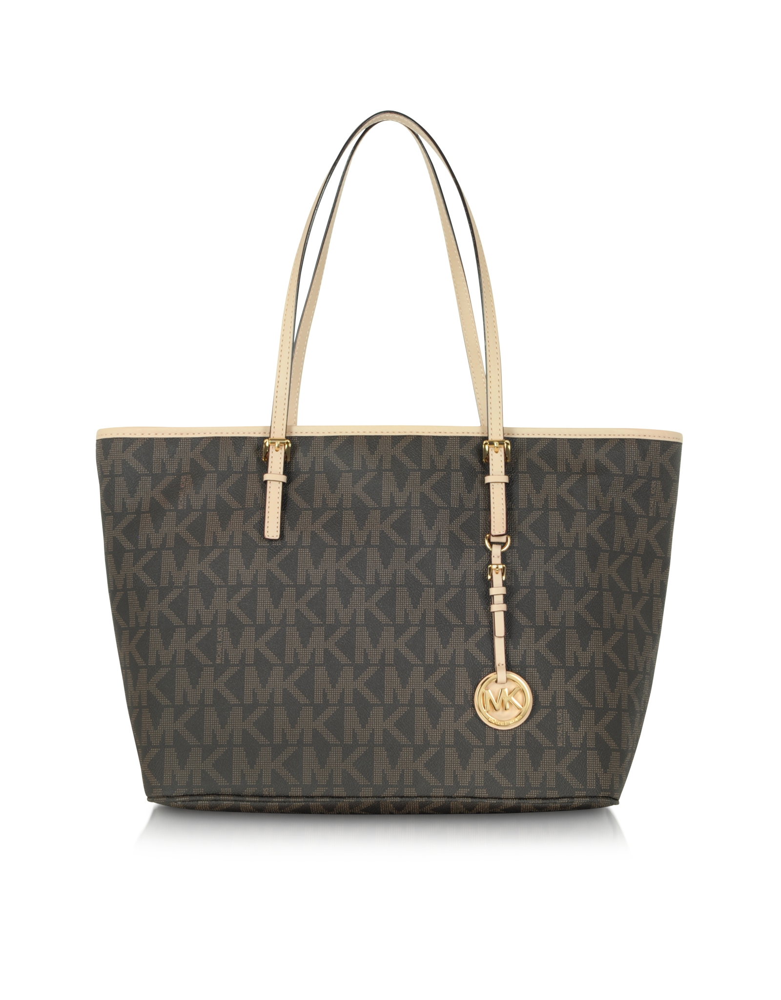 michael kors jet set travel brown signature t z tote in black lyst. Black Bedroom Furniture Sets. Home Design Ideas