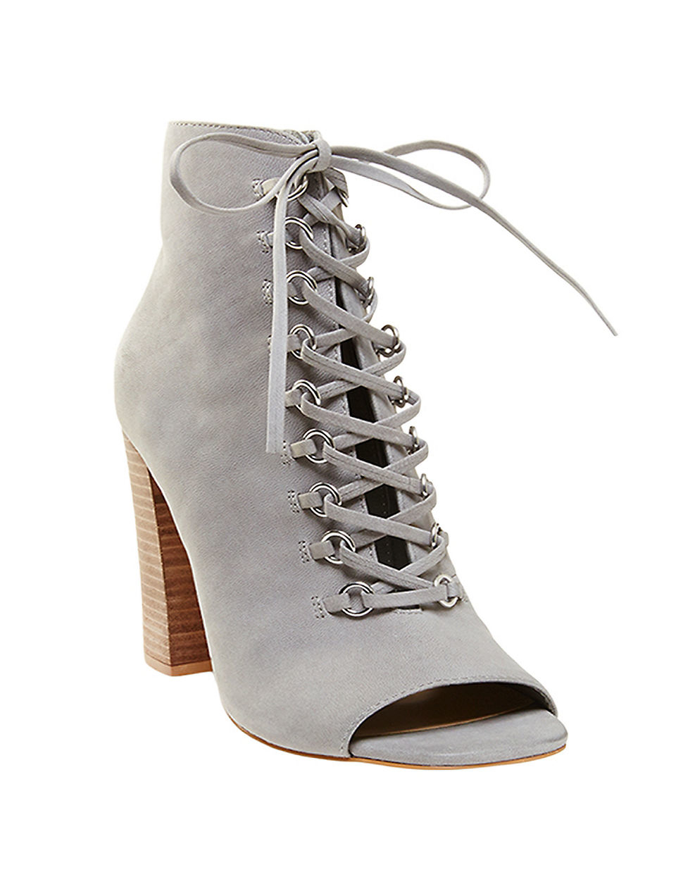steve madden freemee leather lace up booties in gray lyst
