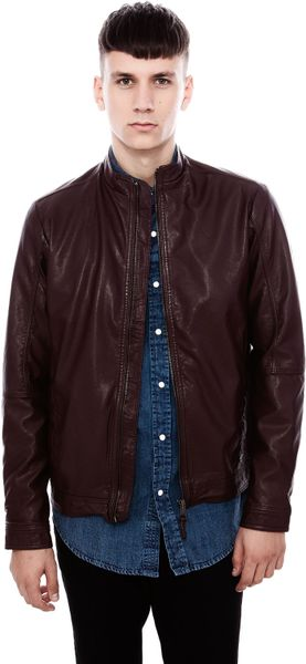 Pull&bear Fake Leather Jacket in Brown for Men (BURGUNDY) - Lyst
