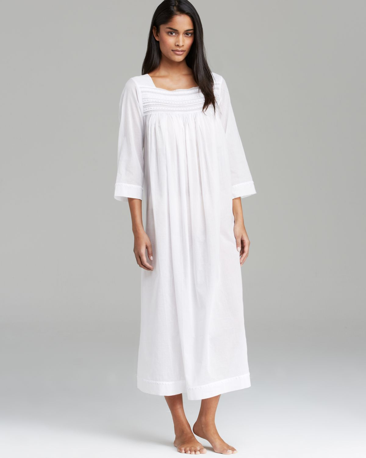 Lyst - Oscar De La Renta Sheer Serenity Cotton Long Nightgown in White