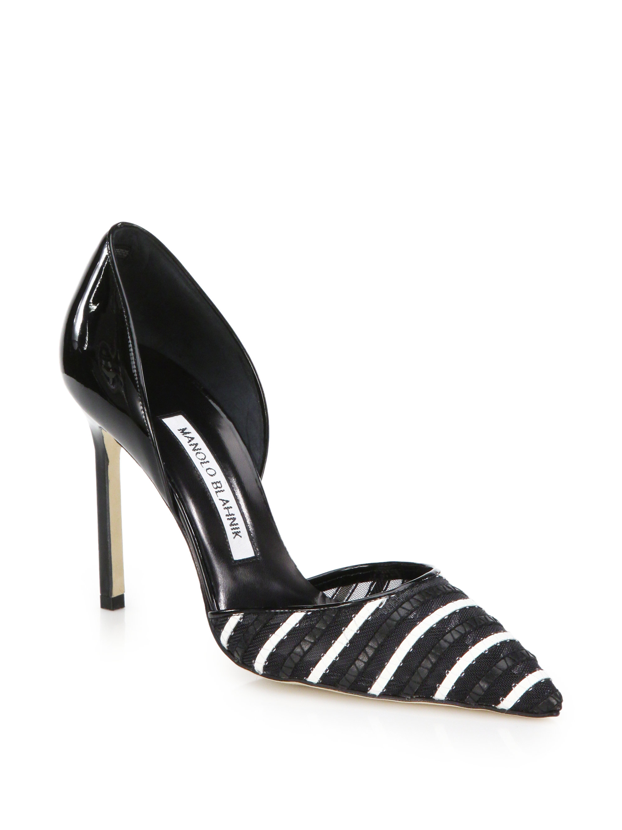 b3b21674ff Manolo Blahnik Tayler Leather & Mesh-striped Patent Leather Pumps in ...