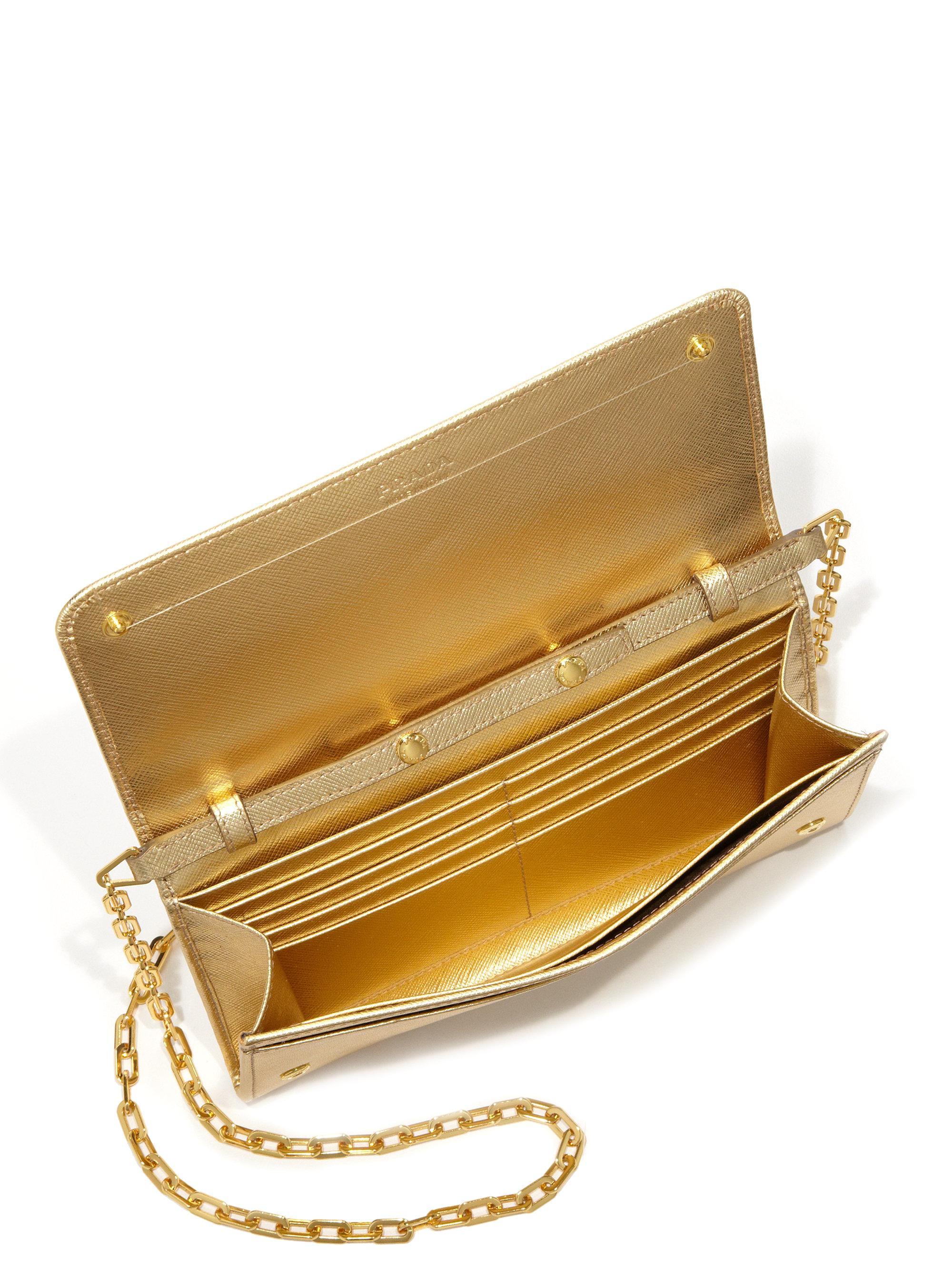 prada yellow leather wallet