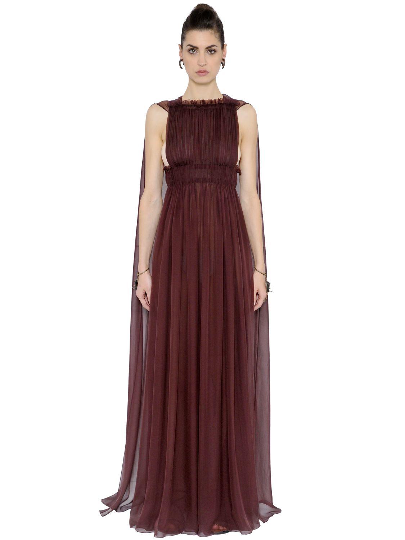 Valentino Silk Chiffon Dress With Cape In Purple Lyst
