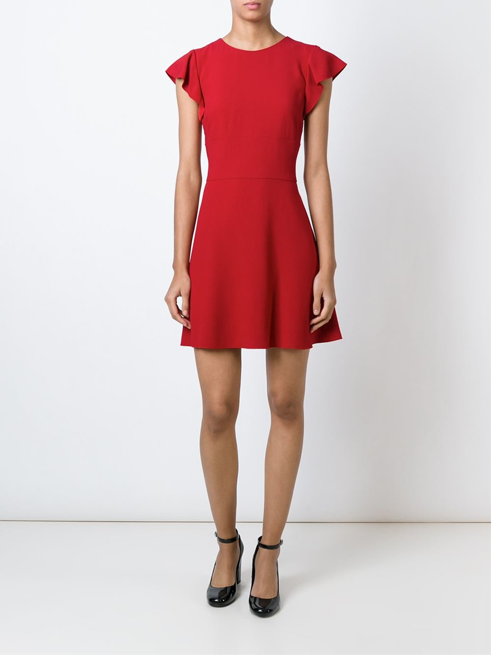 Red Valentino Spring 2016: Red Valentino Shortsleeved Flared Dress In Red